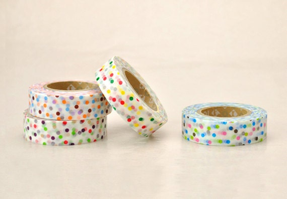 Discontinued- Colorful Polka Dots Japanese Masking Tape Set of 4 (15m long, 50% more) for baby showers, invitations, party deco, packaging
