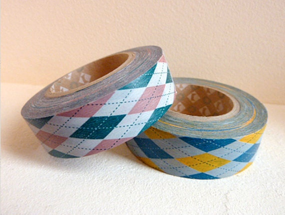 Discontinued-Japanese Washi Masking Tapes / Pink or Yellow Argyle (15m Long, 50% more) for journaling, invitations, gift wrapping