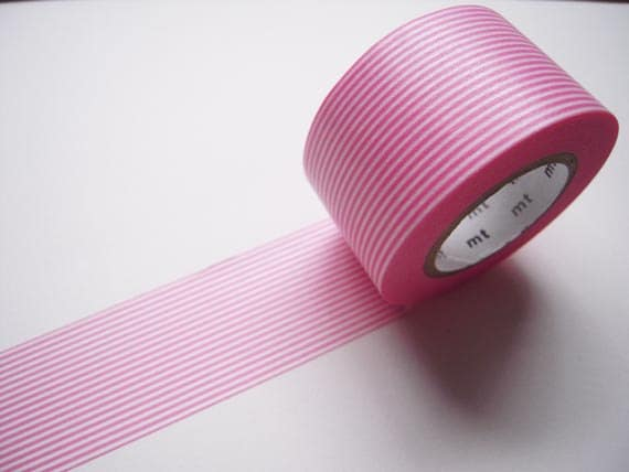 Discontinued-Wide Japanese Washi Masking Tapes / Pink Stripes 30mm for baby shower, card, tag, invitation making, packaging, decoration