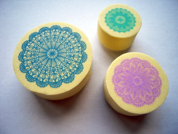 Kawaii Cute Doily Lace Pattern Foam Stamp Set of 3 for card making, party favor, wedding, packaging