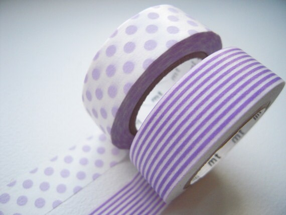 2 DOLLAR SALE - MT 2012 Japanese Washi Masking Tapes / Purple Polka Dots & Stripes for packaging, party deco, card making