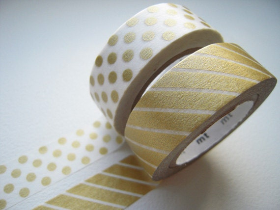MT 2012 - Japanese Washi Masking Tapes / Gold Polka Dots & Stripes for packaging, party deco, card making