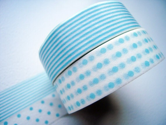 ON SALE - Discontinued Japanese Washi Masking Tapes / Baby Blue Polka Dots & Stripes (15m Long, 50% more) for baby showers, party favor