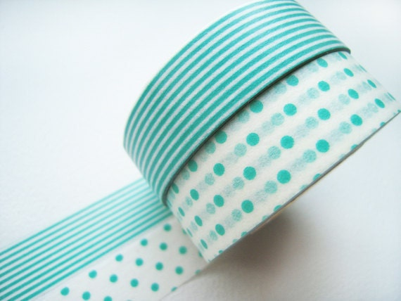 ON SALE-Discontinued-Japanese Washi Masking Tapes / Turquoise Polka Dots & Stripes for Parties, Announcements, Showers (15m Long, 50% more)