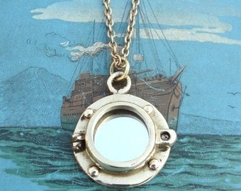 PORT OF CALL mirror long chain pendant