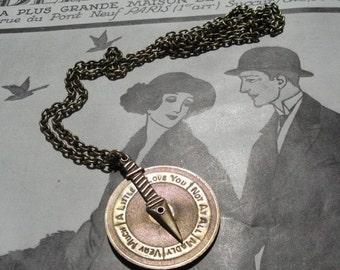 Vintage Love Meter Long Chain Pendant