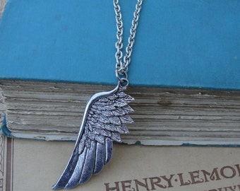 Silver Angel Wing Long Chain Pendant