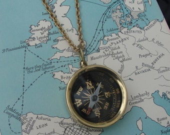 Solid Brass Compass Necklace