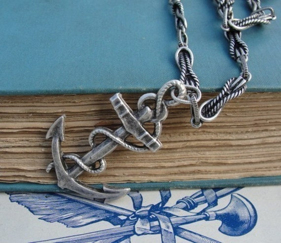 ANCHOR AWAY silver rope long chain pendant