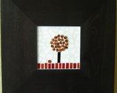 Glass Mosaic Art Plaque - Red Fruit Tree