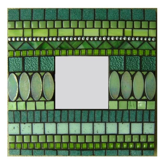 Green Mosaic Wall Mirror - Small Square