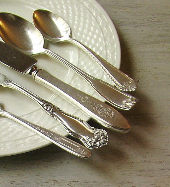 RESERVED - Vintage Silver Flatware 5 Piece Mixed Place Setting