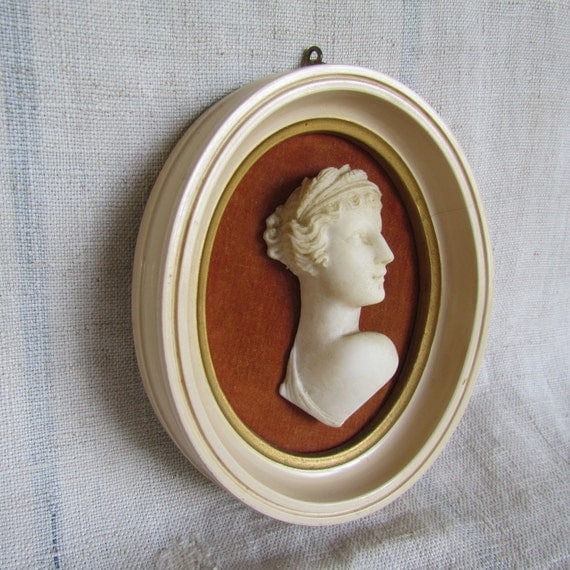 Vintage Framed Bust Classical Roman Maiden