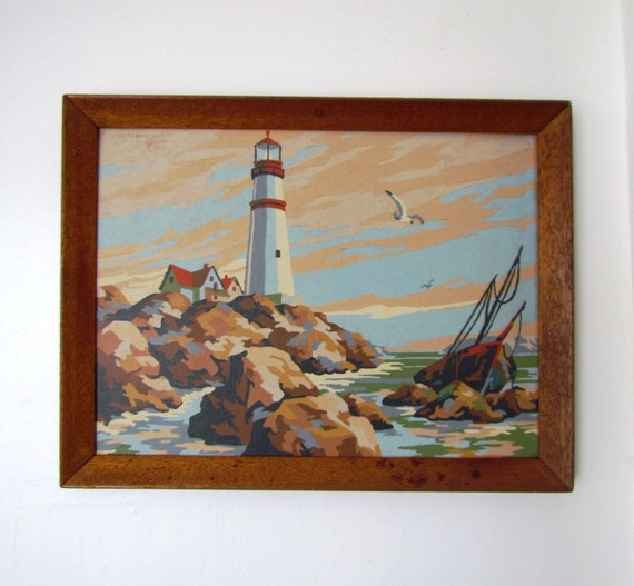 Vintage Seascape Oil Painting Paint by Number