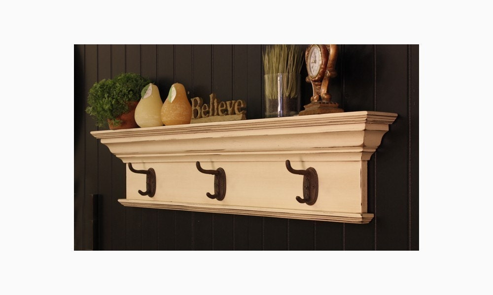traditional wall shelf with hooks. Black Bedroom Furniture Sets. Home Design Ideas