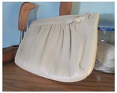 RESERVED: Spring Sale Vintage Bone White Leather Clutch Purse with Bow