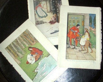 vintage ephemera papers ...  FAIRY TALES Colour PLATES creating fun ...