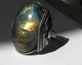 Labradorite Ring, Gold, Blue Wrapped Sterling Silver Wire, Oxidized