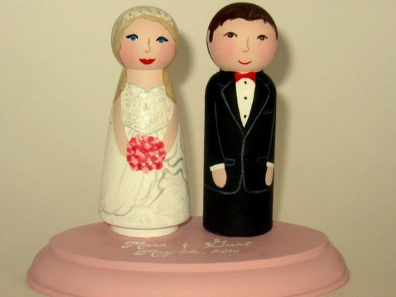Wood Peg Doll Wedding Cake Topper with Matching Pedestal- Completely Custom- Hand Painted- Wood Dolls
