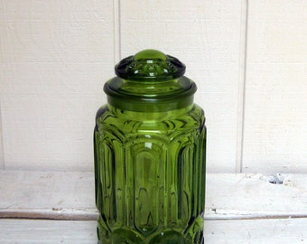 Moon and Stars Large Green Glass Cannister