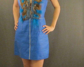 Electric Blue North Beach Style Leather Dress