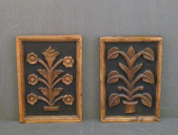 Pair of Hand Carved Wooden Botanicals