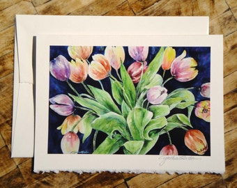 Fine Art Note Card featuring watercolor painting HELLO SPRINGTIME