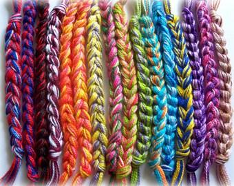 Crocheted Friendship Bracelet Rainbow School Sports Cancer Awareness Wristband Fundraiser Cotton Custom Colors By Distinctly Daisy
