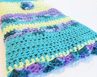 Bright Blossoms Hand Crocheted Baby Toddler Blanket Flowers 36 x 44  Lightweight Turquoise Orchid Purple Teal Light Green Stripes