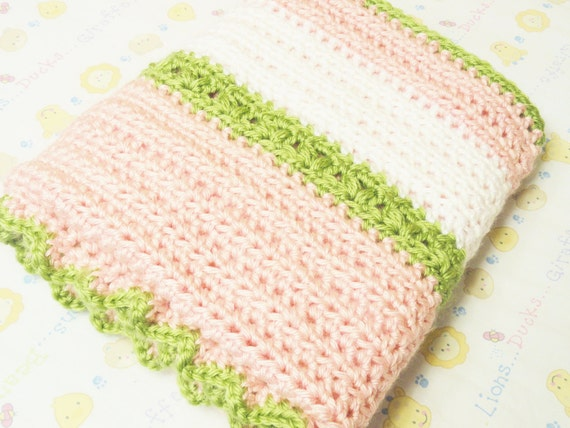 Hand Crocheted Newborn Baby Blanket Small Girl Pink White Chartreuse Green Flower Baby Toddler Nursery Bedding By Distinctly Daisy