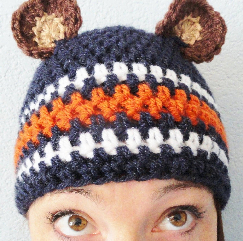 Go Bears Hat Hand-crocheted Chicago Bears Inspired Blue Adult