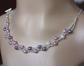 Pearl necklace Shades of Purple  sterling silver chain - ready to ship