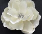 Ivory Gardenia Hair flower clip wedding headPiece rhinestone center hair comb