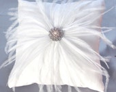 Ostrich Feather White Ring Bearer Pillow wedding reception