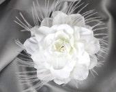 Gardenia Hair flower feather clip or comb wedding headPiece Fascinator -Belle