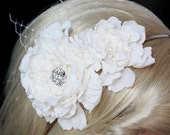 Bridal  flower Headband,  wedding Hair Piece Fascinator made of ivory or white satin and Rhinestone - Annie