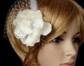 Gardenia Hair flower feather clip comb wedding head piece fascinator - creme cream Rhinestone hair comb in wedding reception - Adela