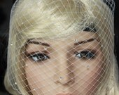Bling-bling Birdcage Veil Russian netting White or Ivory With Swarovski Crystal Rhinestone Wedding Reception