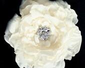 Ivory Peony Crystal hair Flower comb / Clip wedding headPiece  Fascinator reception - Janet