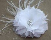 Luxurious White Peony 100% silk and Crystal Ostrich Feather Hair Flower wedding - Renata