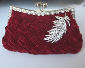 Burgundy Bridal Clutch - satin with Swarovski Crystal feather brooch -made to order