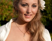 Blusher Bridal Veil with detachable Fascinator in ivory
