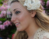 Bandeau Birdcage Veil and detachable flower Fascinator with peacock eyes Vintage inspired Blusher hair flower in ivory or white