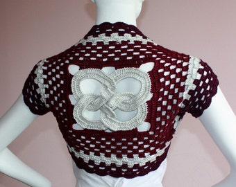Silk Bamboo bolero Shrug hand knit /crochet bridal purple silver - The Link