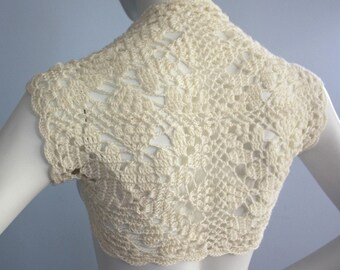 Gorgeous Bridal Silk / Cashmere Shrug handknit /crochet wedding bolero Ivory Cream Size S-M