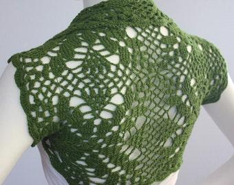 Crocheted Cashmere blend wedding Shrug - La Palma bolero -- custom 11 colors