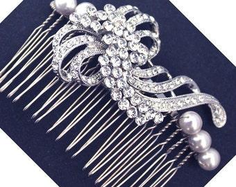 Rhinestone Swarovski Pearls Hair comb Wedding Bridal Headpiece