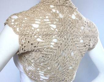 Luxurious Bridal Silk / Cashmere Shrug handknit /crochet wedding bolero Golden Champagne Size M