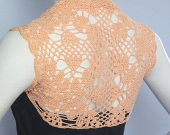 Plus size Apricot Silk Bamboo bridal Bolero hand knit crochet Shrug Wedding reception Made to order