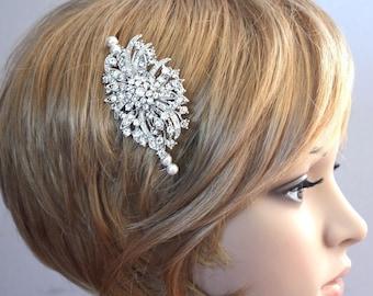 Bridal Hair comb - Victorian inspired Rhinestone Swarovski Pearls wedding Bridal Headpiece